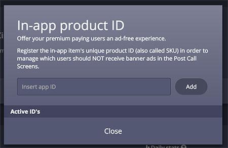 Área de definição de IDs que não devem ter anúncios Calldorado apresnetados