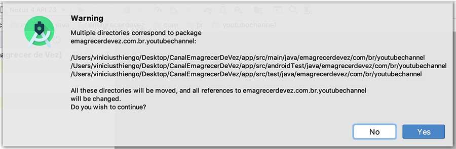 Pop-up de confirmação de realocação de pacote em projeto