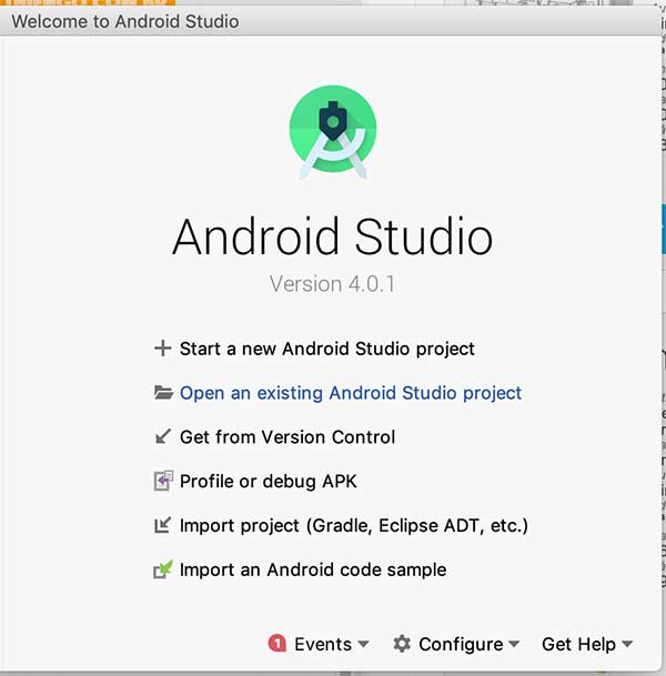 Tela inicial do Android Studio IDE