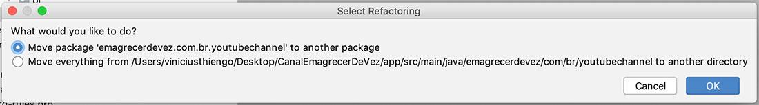Pop-up de escolha de como será a realocação de pacote em projeto