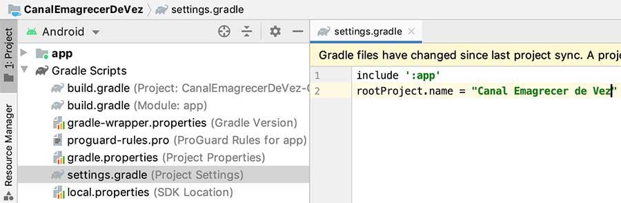 Mudando o nome root do projeto