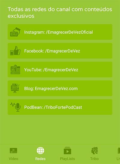 Tela de Redes sociais e sites