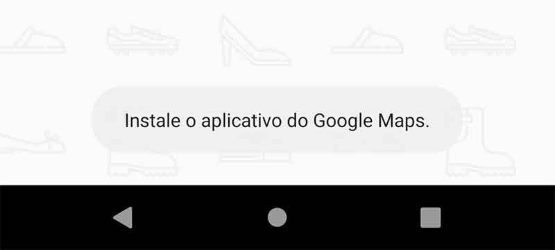 Toast de app Google Maps não instalado
