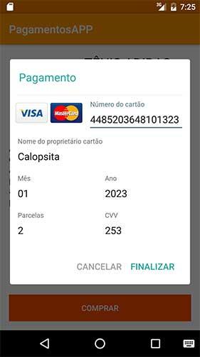 Processando checkout transparente em aplicativo Android
