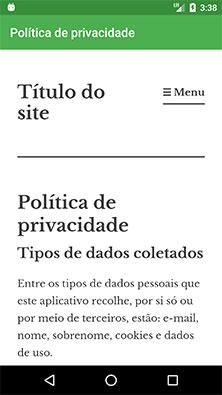 Página de política de privacidade em um aplicativo Android