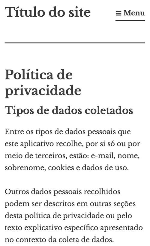 Página de política de privacidade em layout mobile