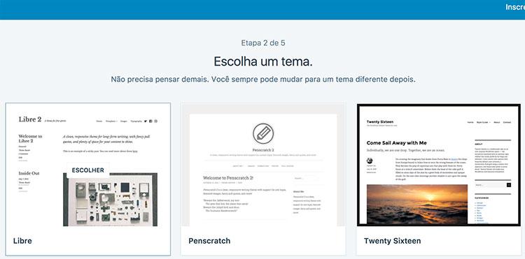 Página de seleção de template no WordPress