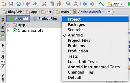 Visualização de projeto no Android Studio