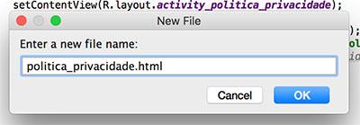 Criação de arquivo HTML em projeto Android