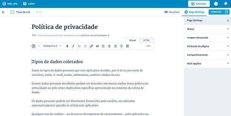 Criação de página de política de privacidade