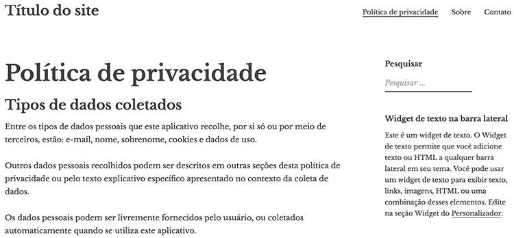 Página de política de privacidade