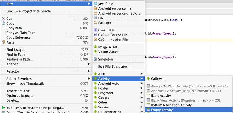 Criando uma nova atividade no Android Studio