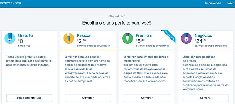 Página de seleção de plano no WordPress