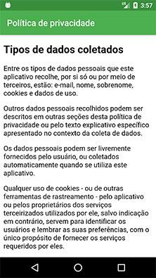 Página de política de privacidade em aplicativo Android