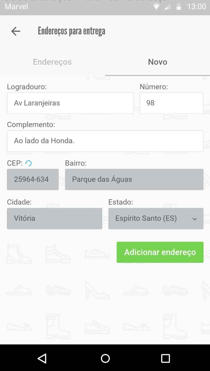Atualização de CEP - novo endereço