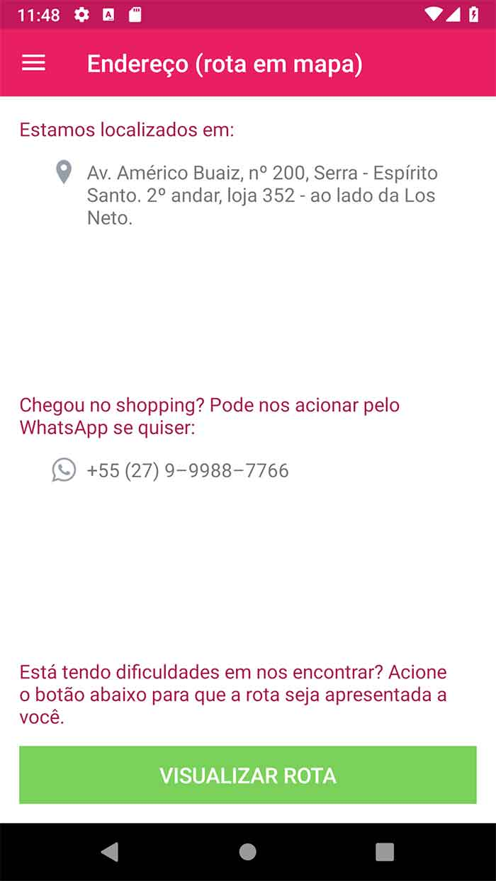 Tela antiga de endereço e contato do app Android de salão