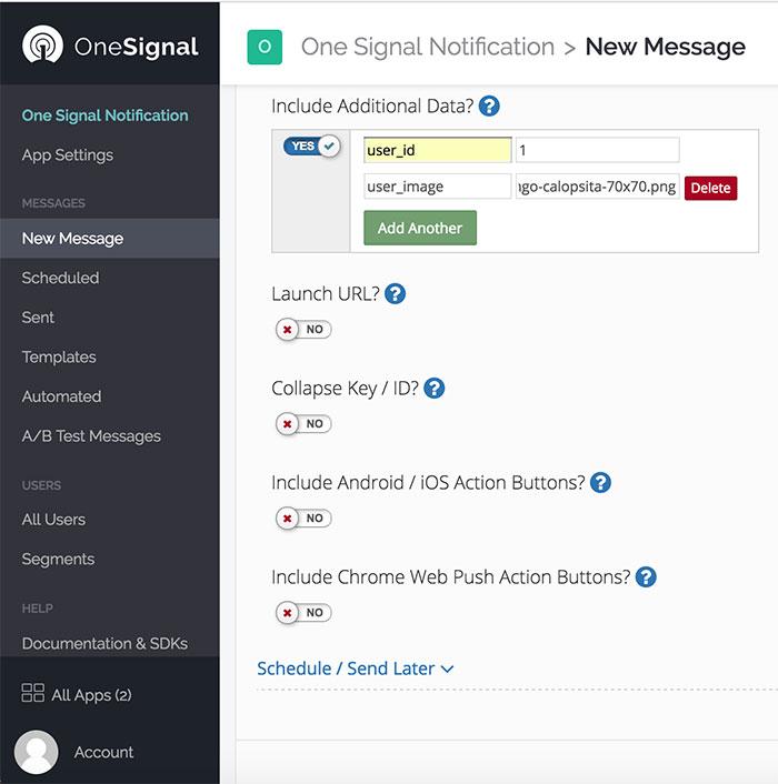 Dashboard do OneSignal com dados de uma nova notificação
