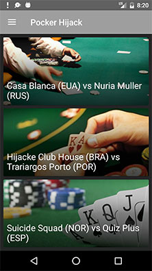 Tela principal do aplicativo de exemplo Poker Hijack