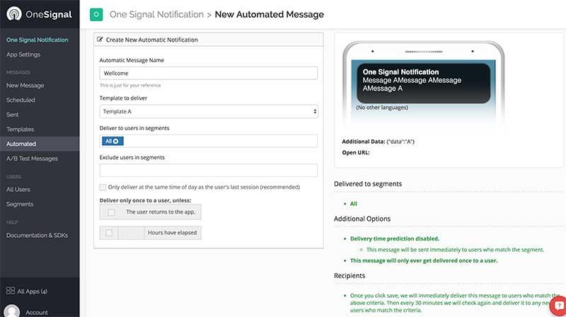 Automação de notificações - Dashboard OneSignal
