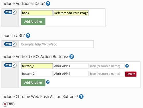 Terceira parte da configuração de uma nova notificação - Dashboard OneSignal