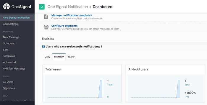 Dashboard OneSignal