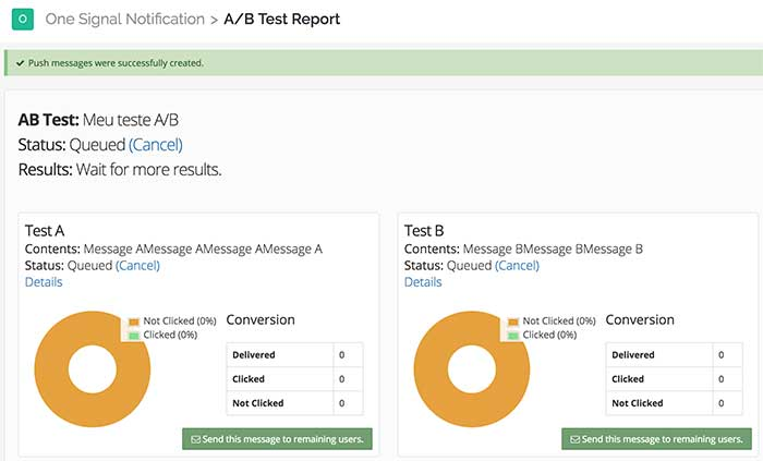Analytics teste A / B - Dashboard OneSignal