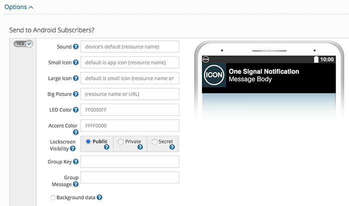 Customização da notificação - Dashboard OneSignal