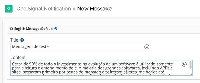 Título e conteúdo da notificação - Dashboard OneSignal