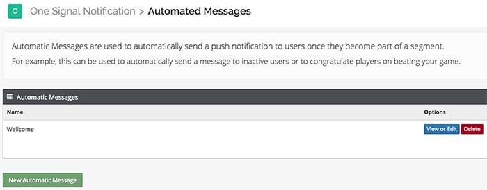 Notificações automatizadas - Dashboard OneSignal