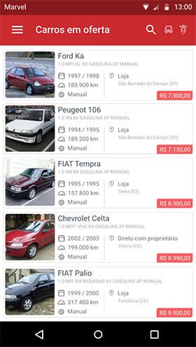 Tela de listagem de carros