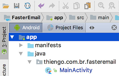 Estrutura do app FasterEmail no Android Studio