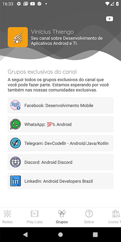 Tela de Grupos exclusivos do canal