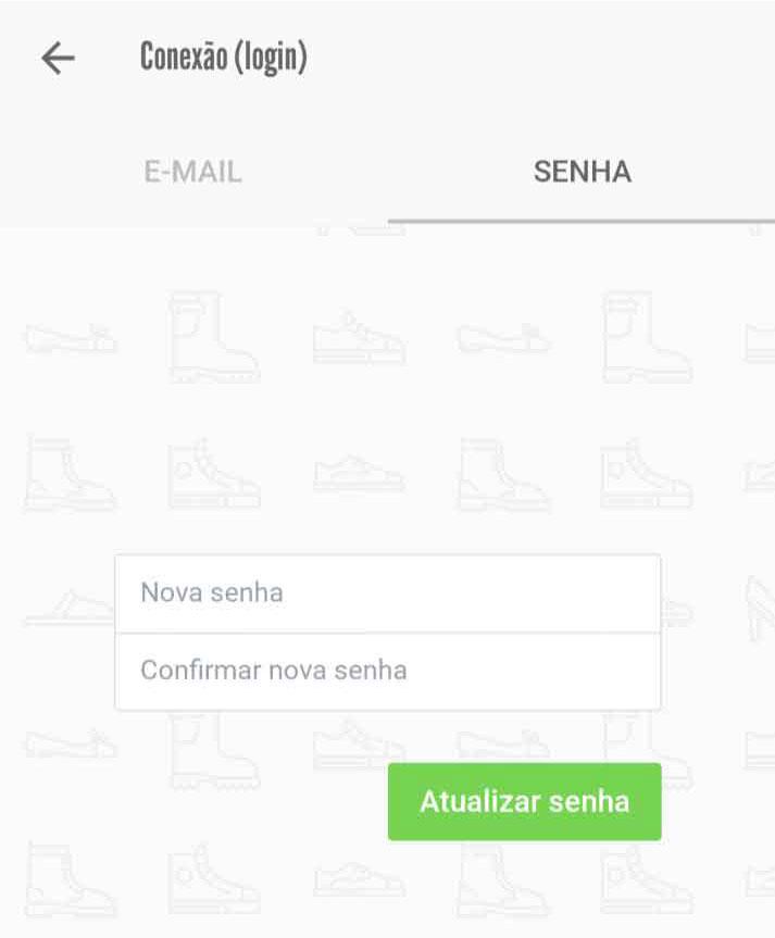 Fragmento do formulário de atualização de senha