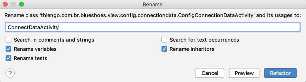 Atualizando o nome da atividade ConfigConnectionDataActivity