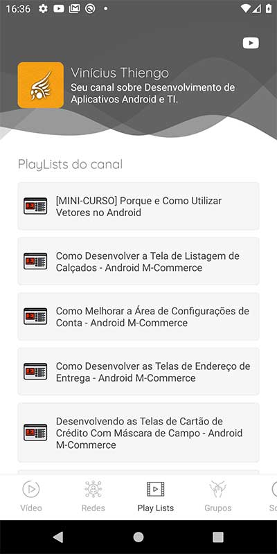 Tela de PlayLists canal