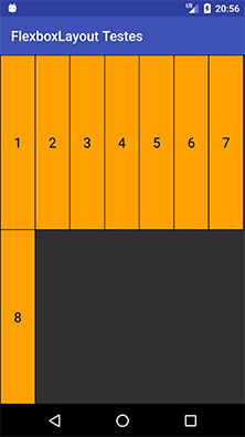 FlexboxLayout com o atributo alignItems igual stretch