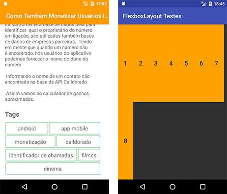 FlexboxLayout aplicaido em projeto Android