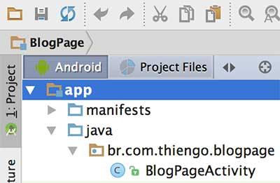 Print da arquitetura do projeto no Android Studio