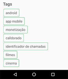 UI de tags do artigo do Blog no Android