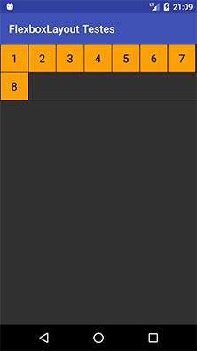 FlexboxLayout com o atributo alignContent igual flex_start