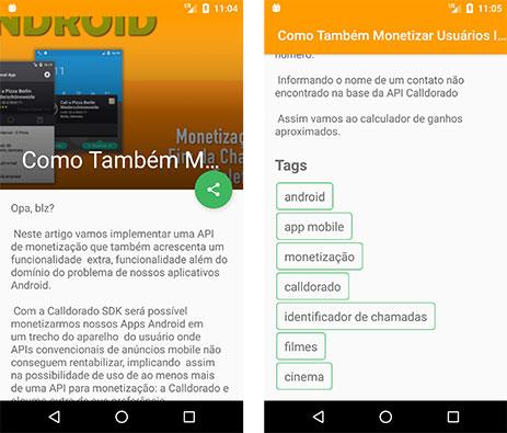 App Android de uma página de Blog