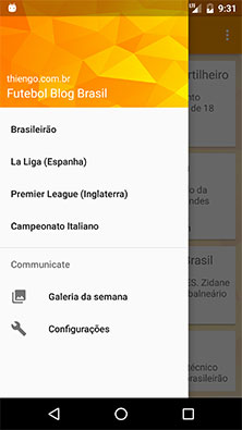 Menu gaveta do aplicativo Android Futebol Blog
