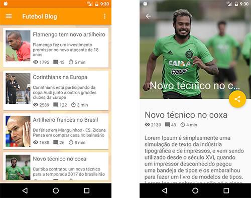 Telas do aplicativo Android Futebol Blog