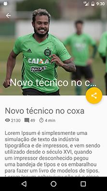 Área de conteúdo do aplicativo Android Futebol Blog