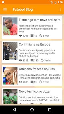 Lista de conteúdos no aplicativo Android Futebol Blog