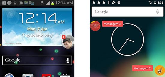 App Android do Facebook com notificação bolha em comparação ao app do exemplo do artigo