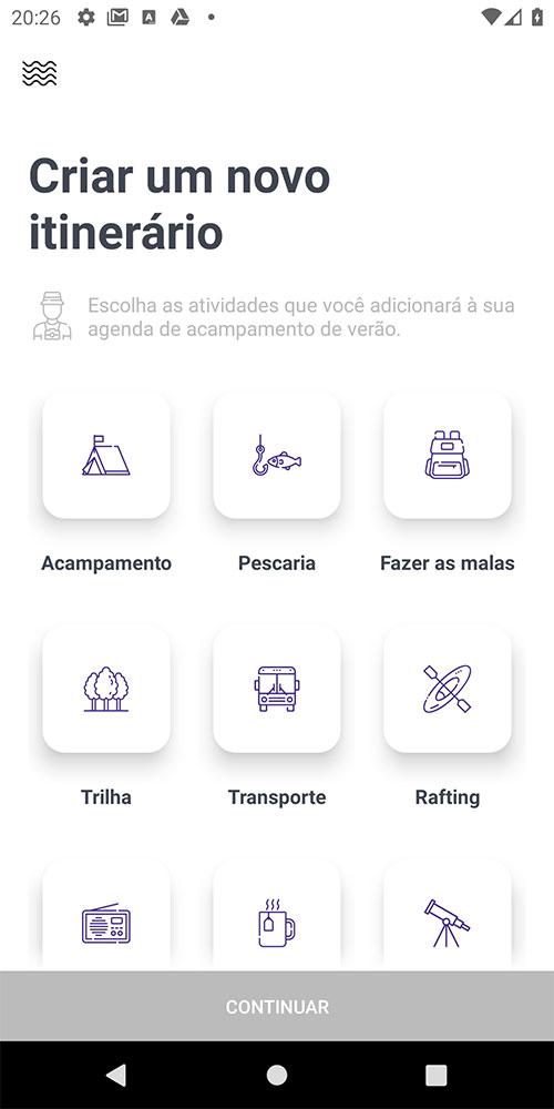 Tela de opções de itinerário (sem seleção)