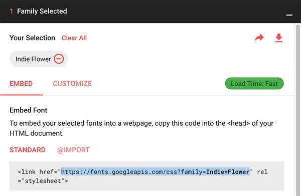 Google Fonts - Seleção de família de fonte
