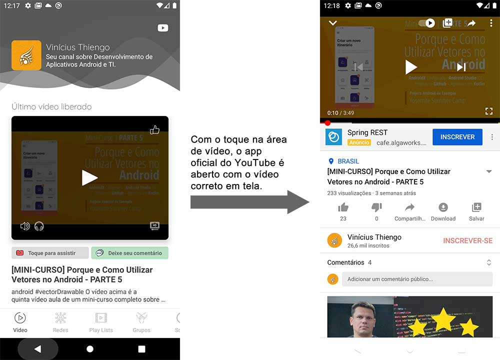Abrindo o vídeo no app Android oficial do YouTube