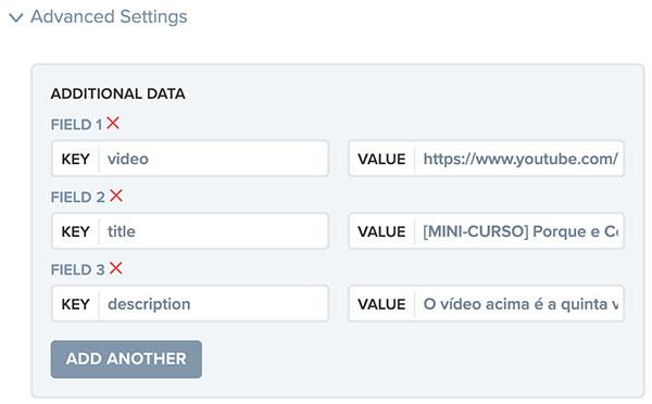 Definindo os valores dos campos video, title e description de uma nova notificação push